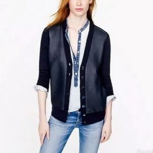 J Crew Collection Leather Wool Cardigan sweater